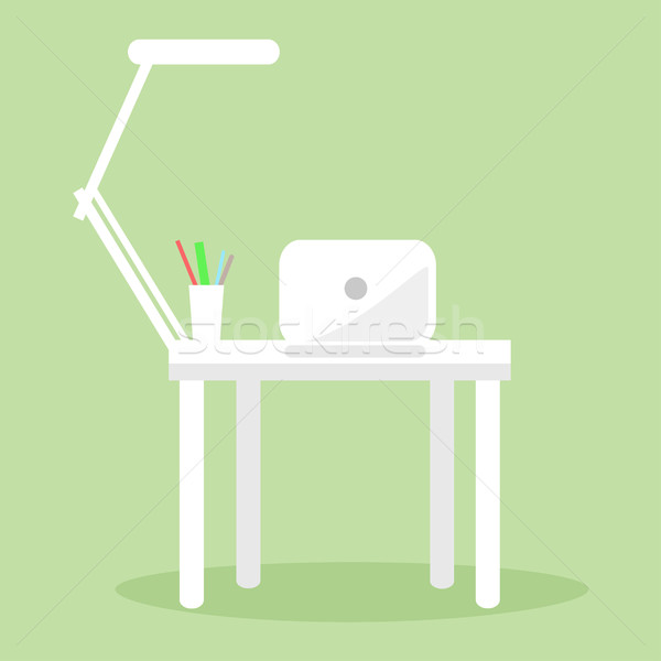 Stock foto: Weiß · Notebook · Tabelle · Lampe · mehrere · Bleistift