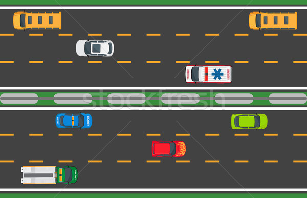 City Traffic Vector Concept with Cars On Highway Stock photo © robuart