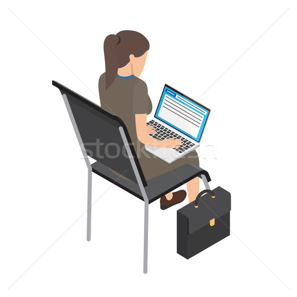Businesswoman with Laptop on Chair Illustration Stock photo © robuart