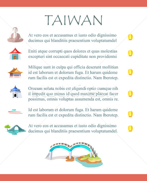 Taiwan Brochure with Information and Sightseeings Stock photo © robuart