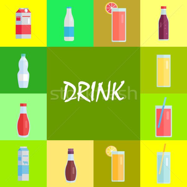 Frissítő italok édes üdítő illusztrációk szett Stock fotó © robuart