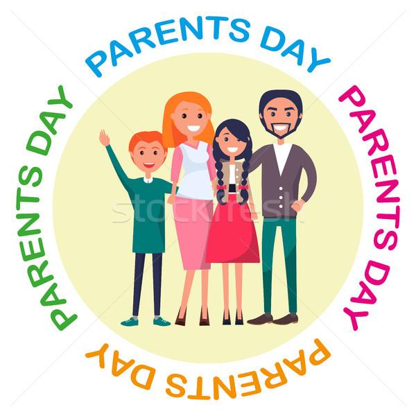 Poster gewijd ouders dag viering familie Stockfoto © robuart