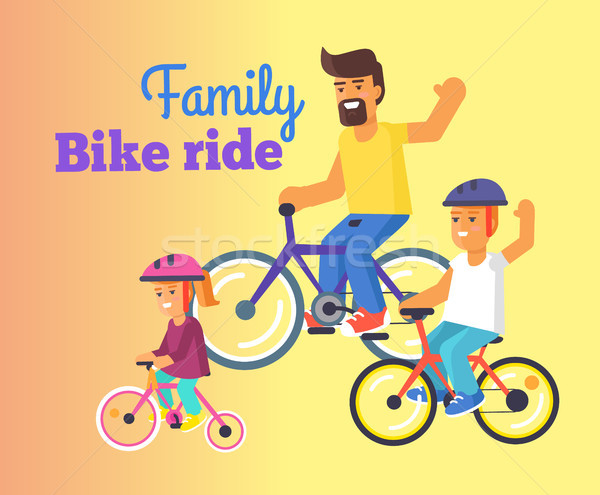 Family Bike Ride with Dad, Little Daughter and Son Stock photo © robuart