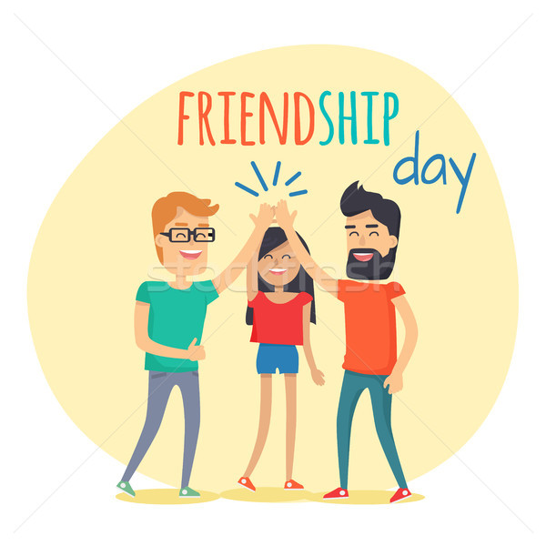 Best Friends Spend Fun Time. Friendship Day Flat Stock photo © robuart