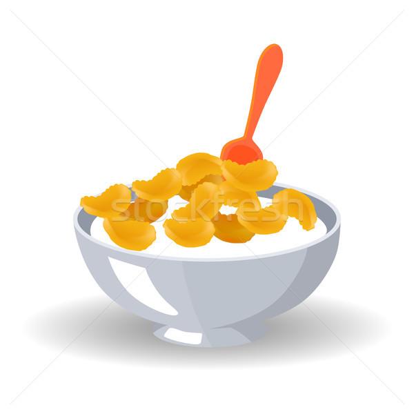 Cereali ciotola latte cucchiaio fiocchi d'avena profondità Foto d'archivio © robuart