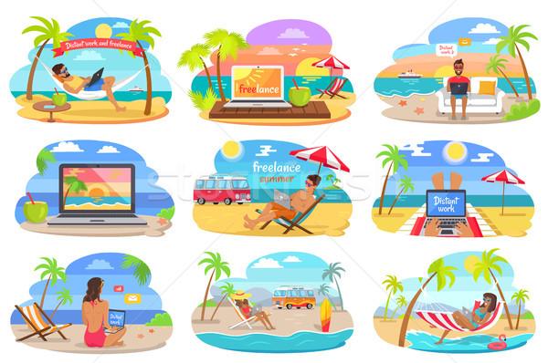 Afgelegen werk freelance strand zomer vakantie Stockfoto © robuart