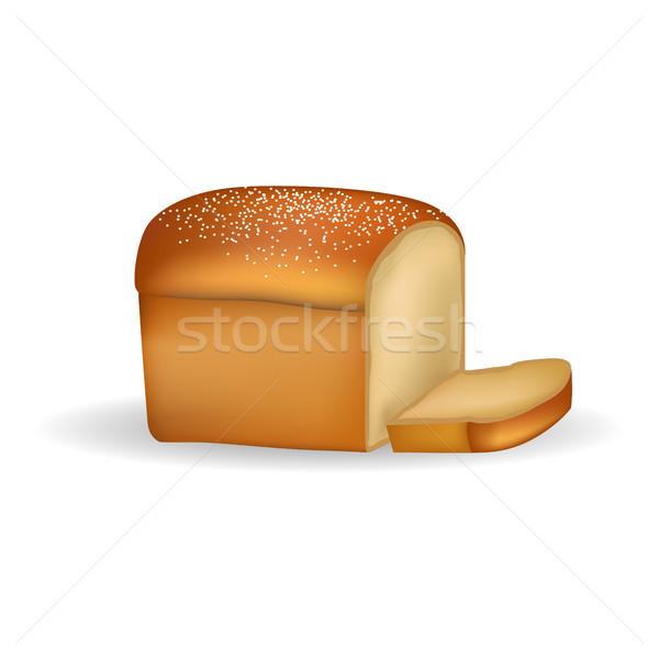 квадратный хлеб тонкий ломтик изолированный белый хлеб Сток-фото © robuart