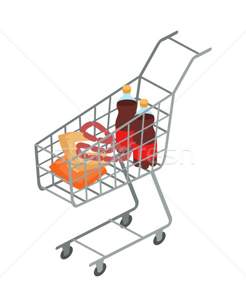 Supermarket Trolley with Food Isometric Vector  Stock photo © robuart