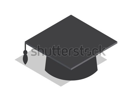 черный квадратный академический Hat иллюстрация окончания Сток-фото © robuart