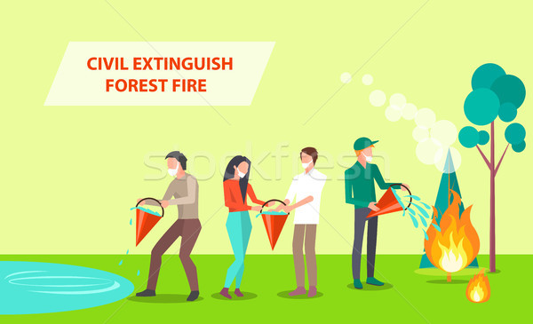 Civil Extinguish Forest Fire Illustration Stock photo © robuart