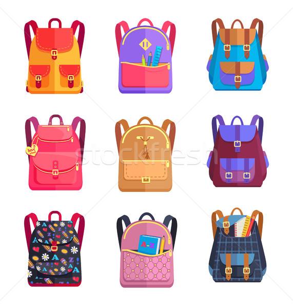 Set of Colorful Rucksacks for Girls or Boys Vector Stock photo © robuart