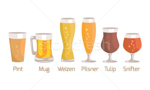 Pint and Mug, Weizen Vector Illustration on White Stock photo © robuart