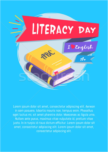Literacy Day I Love English Poster with Textbooks Stock photo © robuart
