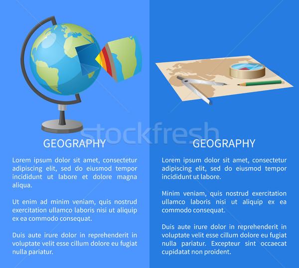 Geografico illustrazione geografia manifesti mondo Foto d'archivio © robuart