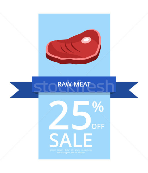 Raw Meat 25 Off Sale Vector Illustration on Blue Stock photo © robuart