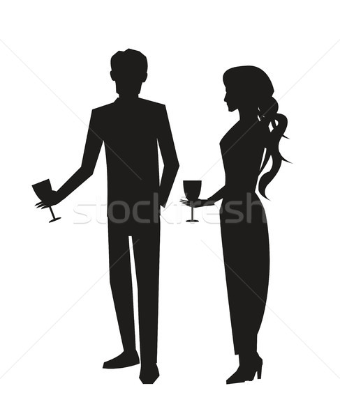 Man in Suit and Woman in Dress Vector Illustration Stock photo © robuart