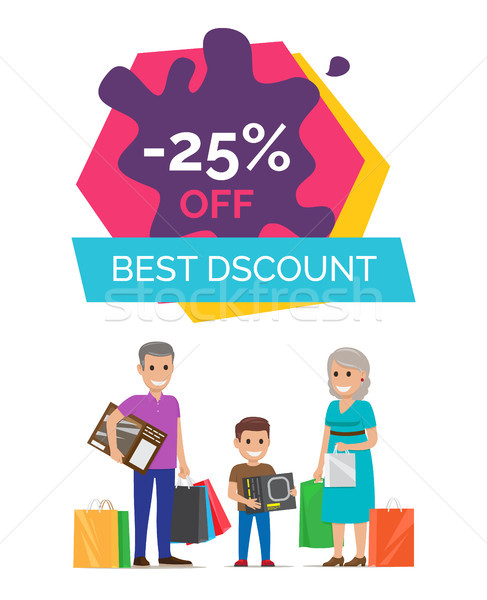 -25 Off Best Discount Placard Vector Illustration Stock photo © robuart