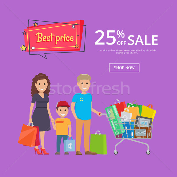 Best Price Proposition Banner with Family Shopping Stock photo © robuart