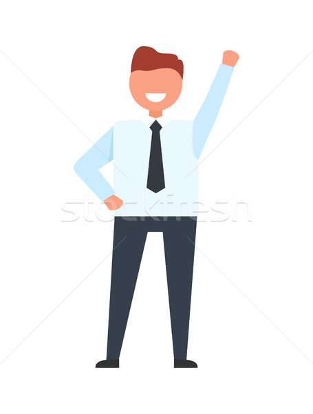 Smiling Businessman Raise his Hand Up Worker Ready Stock photo © robuart