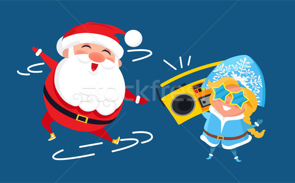 Stock photo: Modern Santa Claus and Snow Maiden Music Recorder