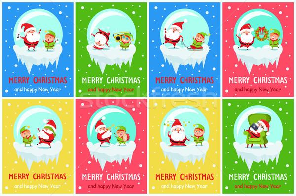 Merry Christmas Happy New Year Poster Santa Elf Stock photo © robuart
