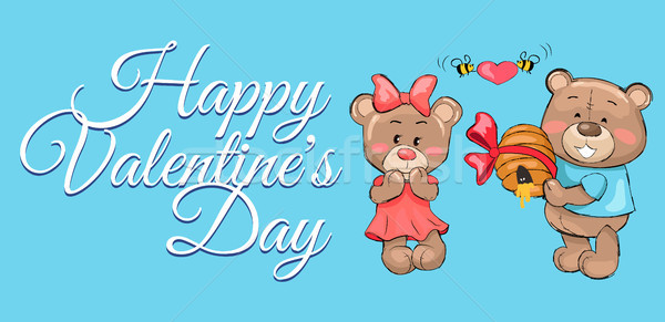 Happy Valentines Male Teddy Bear Holds Hive Honey Stock photo © robuart