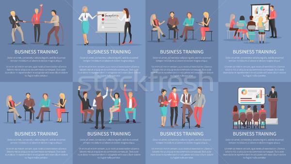 Business Ausbildung Set Plakate Vektor Arbeitnehmer Stock foto © robuart