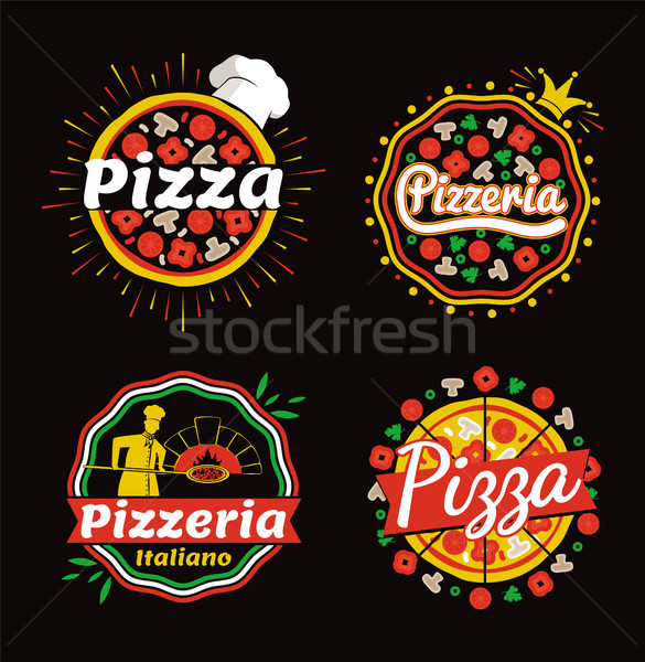 Pizza and Pizzeria Logos Set Vector Illustration Stock photo © robuart