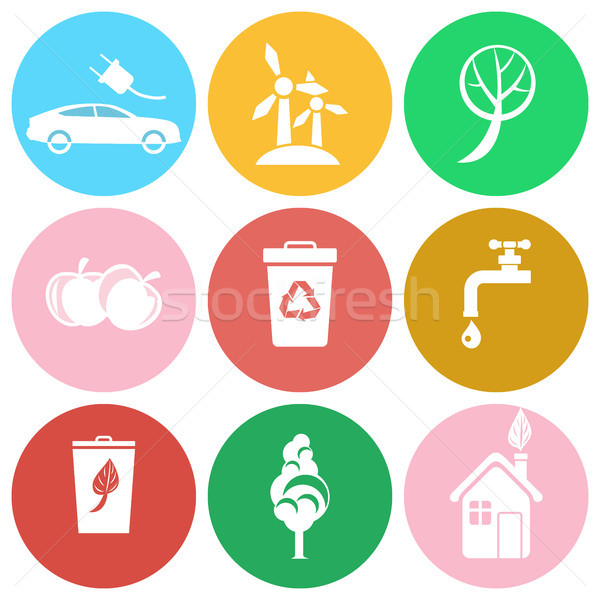 Eco Energy, Save Water and Greening Planet Icons Stock photo © robuart