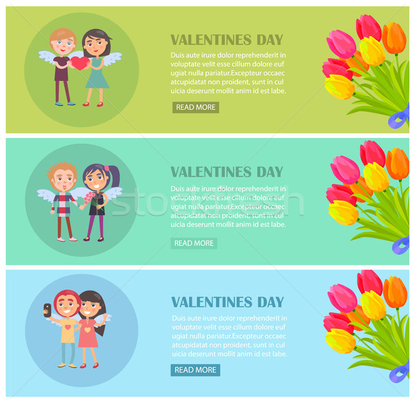 Valentines Day Postcards Set with Young Lovers Stock photo © robuart