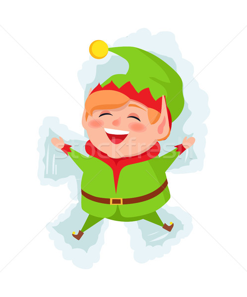Merry Elf Laying on Snow and Making Figures Vector Stock photo © robuart