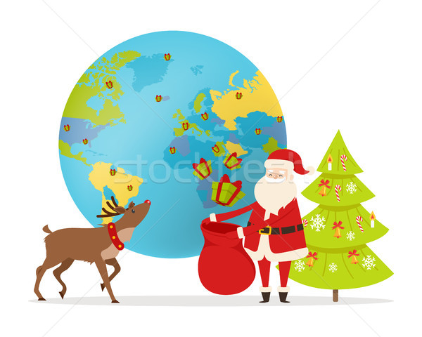 Delivery of Christmas present Around World Vector Stock photo © robuart