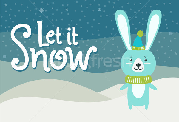 Let it Snow Hare Dressed in Warm Knitted Clothes Stock photo © robuart