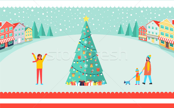 Spacious Town Square with Tall Christmas Tree Stock photo © robuart