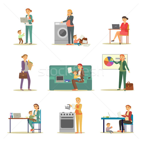 Successful Businesswoman and Excellent Mother Set Stock photo © robuart