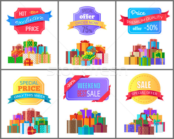 Special Offer Order Labels on Posters Gift Boxes Stock photo © robuart