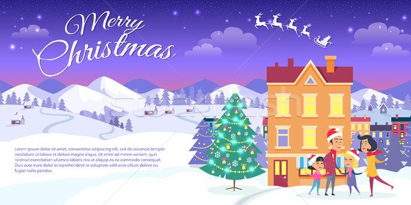 Merry Christmas on City and Blue Sky Background Stock photo © robuart