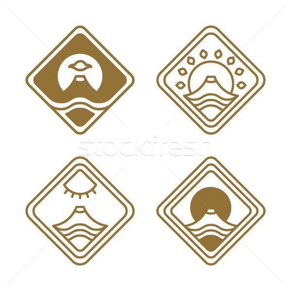 Japanese Icons Set Nature Vector Illustration Stock photo © robuart