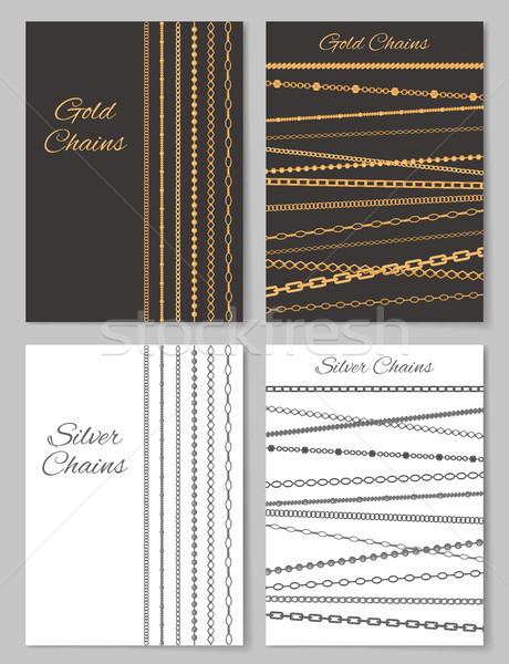 золото серебро цепями плакатов набор Сток-фото © robuart