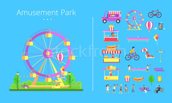 Stock photo: Amusement Park Collection Vector Illustration