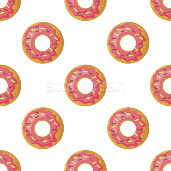 Glazed Donuts Flat Vector Seamless Pattern Stock photo © robuart