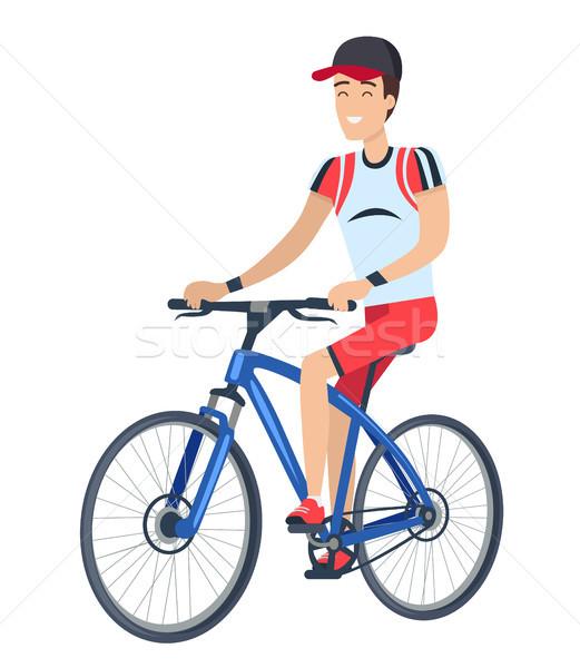 Stock fotó: Férfi · lovaglás · bicikli · poszter · biciklis · jó