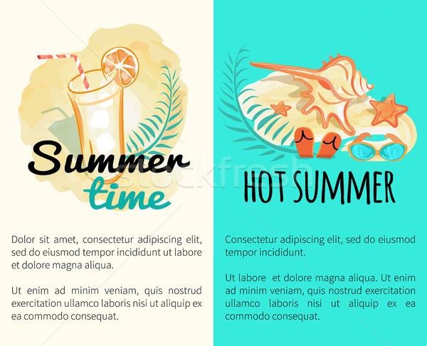 Yaz zaman sıcak tatil posterler ayarlamak Stok fotoğraf © robuart