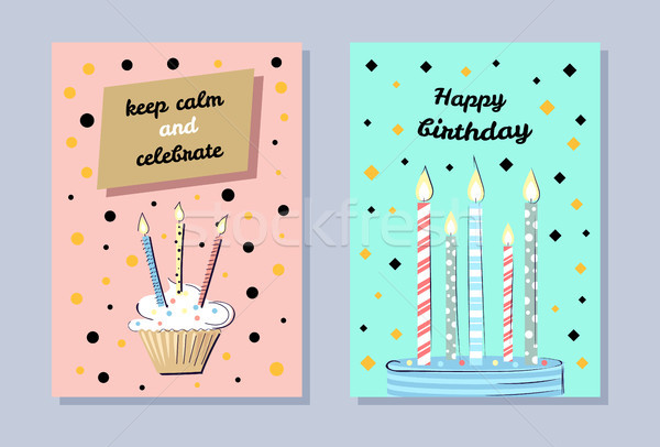 Happy Birthday Banner, Keep Calm and Celebrate Stock photo © robuart