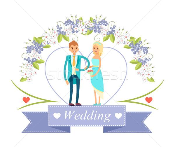 Wedding Happy Bride and Groom Vector Illustration Stock photo © robuart