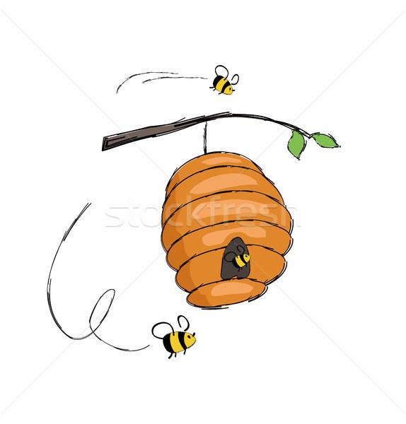 Arılar uçan kovan asılı vektör Stok fotoğraf © robuart