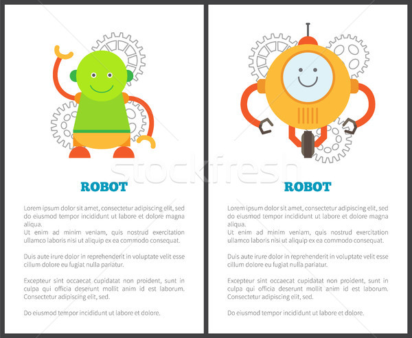 Robot and Headlines Collection Vector Illustration Stock photo © robuart