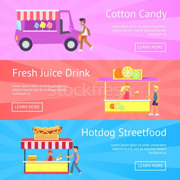 綿 キャンディ 新鮮な ジュース ドリンク ホットドッグ ストックフォト © robuart
