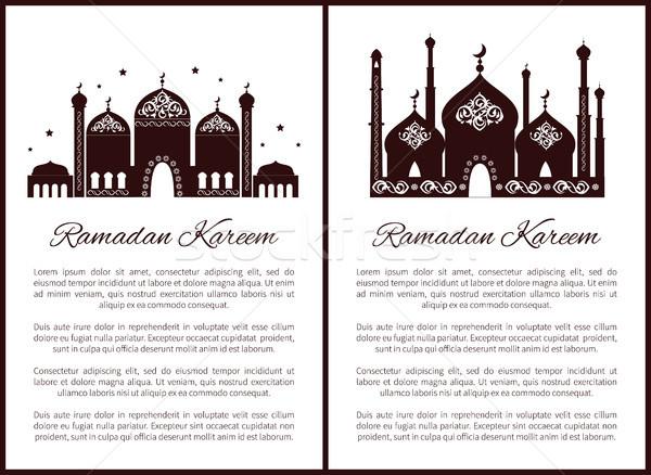 Ramadan posters ingesteld tekst monster Stockfoto © robuart