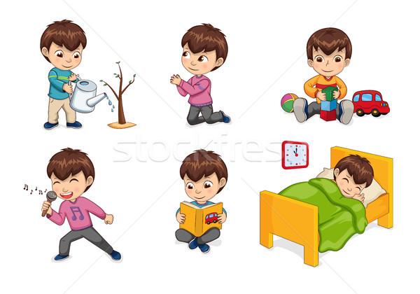 Boy Lifestyle and Leisure Set Vector Illustration Stock photo © robuart